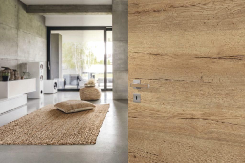 Bild einer Holztüre und Blick ins Wohnzimmer